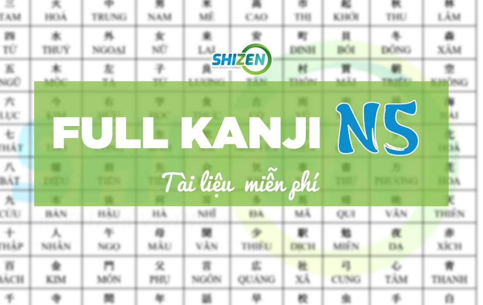 tài liệu kanji N5